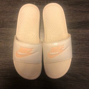 Pink and White Rubber NIKE Slides